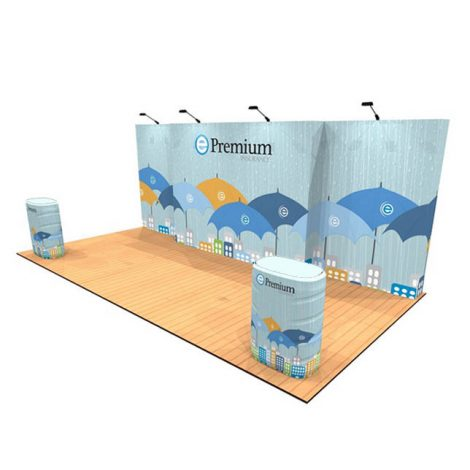 10' x 20' tension fabric pop up display kit with counters