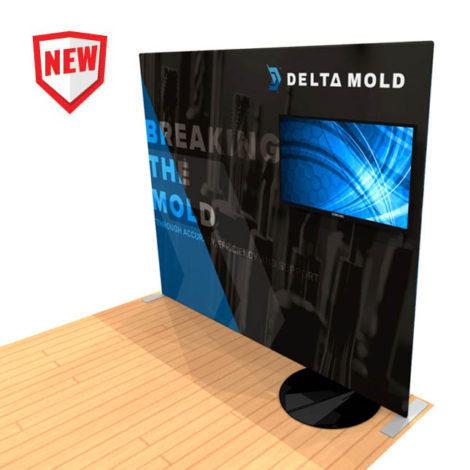 10ft tension fabric display with monitor stand