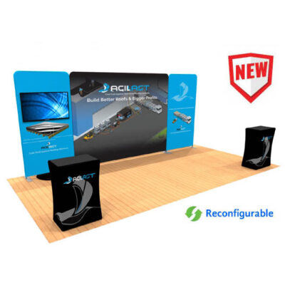 20ft tension fabric display with monitor mount