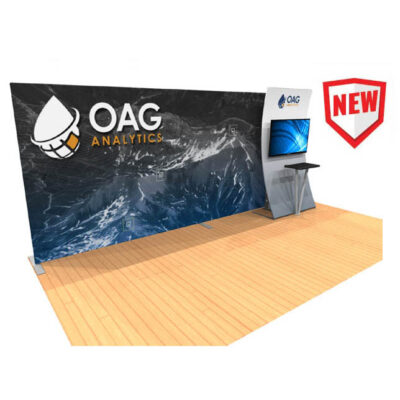 20ft tension fabric display with kiosk