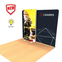 10ft tension fabric display with lightbox