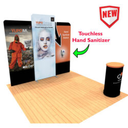 10ft Tension Fabric Display with Hand Sanitizer Kit 1