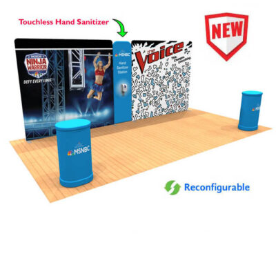 20ft Tension Fabric Display with Hand Sanitizer Kit 1